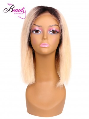 Ombre Blonde Bob Wig Human Hair with Middle Part 1BT613 1BTGreen Straight Lace Front Wig 150% Density