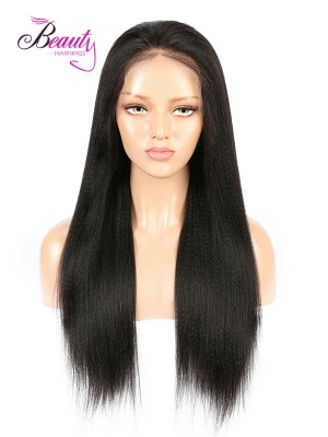 Brazilian Virgin Hair Yaki Straight Lace Front Wig 130% 150% 180% Density