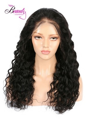6 inches Deep Part  Lace Front Wigs Indian Remy Hair Water Wave, Natural Color,130% 150% 180% Density