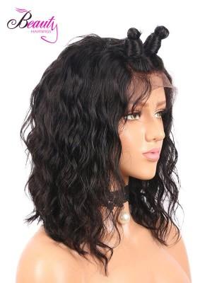 Brazilian Virgin Hair Wavy Human Hair Lace Front Bob Wig 130% 150% 180% Density