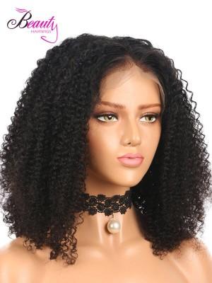 Brazilian Virgin Hair 100% Human Hair Kinky Curly Lace Front Bob Wig 130% 150% 180% Density
