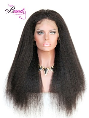 6 inches Deep Part Kinky Straight Lace Front Wigs Indian Remy Hair, Natural Color,130% 150% 180% Density