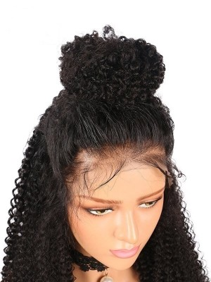 Human Hair Wigs for Black Women Natural Looking Pre Plucked Glueless Kinky Curly 360 Lace Front Wigs with Baby Hair 20 inch High Ponytail and Updo