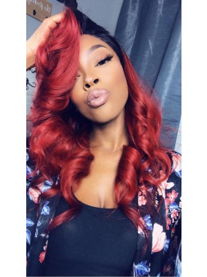 Beautyhairwigs Ombre Red Human Hair 360 Lace Frontal Wigs Pre Plucked for Black Women 150 Density