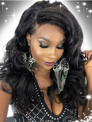 Beautyhairwigs 360 Lace Frontal Glueless Human Hair Lace Wigs Pre Plucked for Black Women New Wavy Natutal Color 150% 180% Density Indian Remy Hair